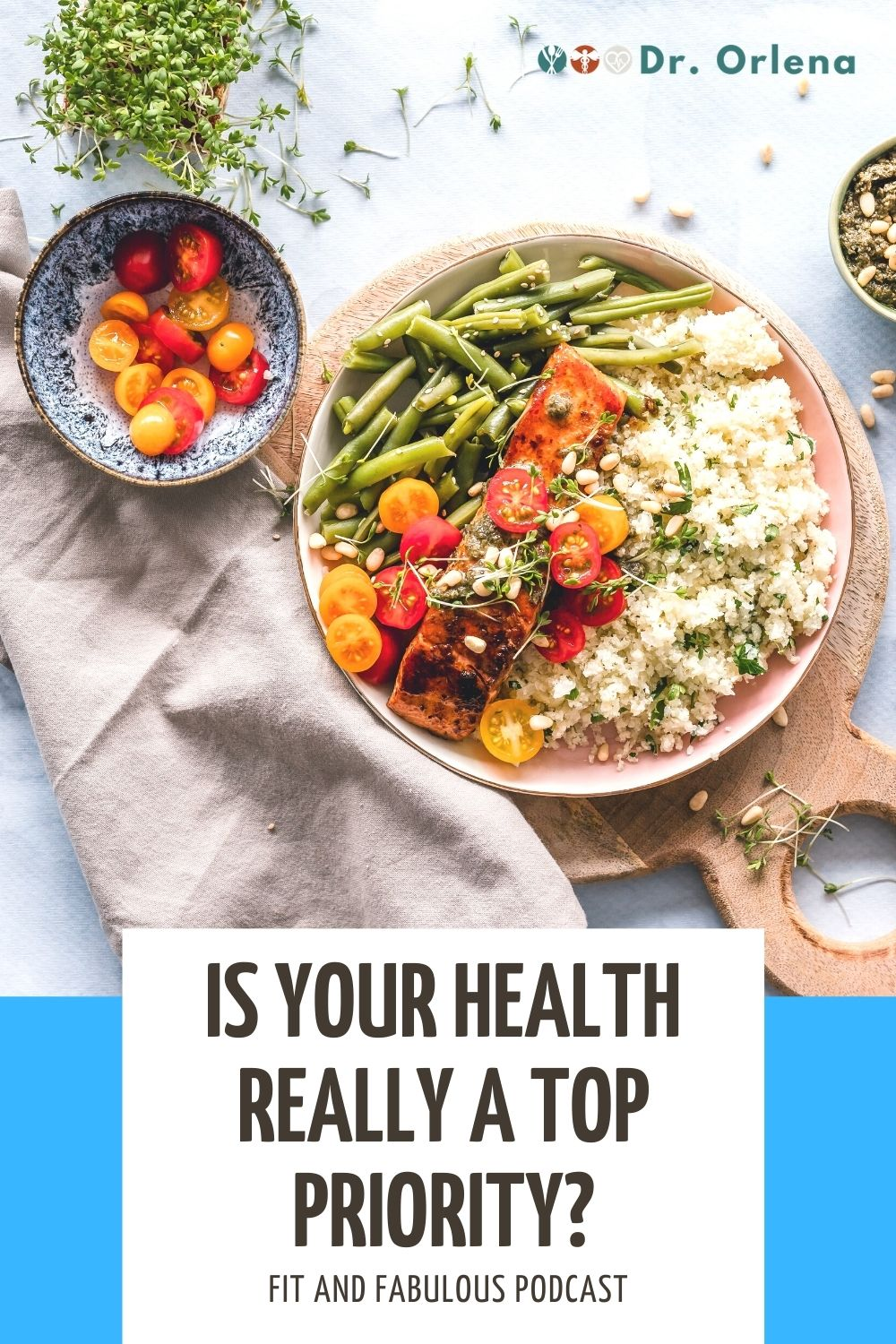 Flatlay photo of a healthy meal consisting of cauliflower rice, tomatoes, string beans and smoked fish #health #lifestyle #wellness #healthylifestyle #healthylife