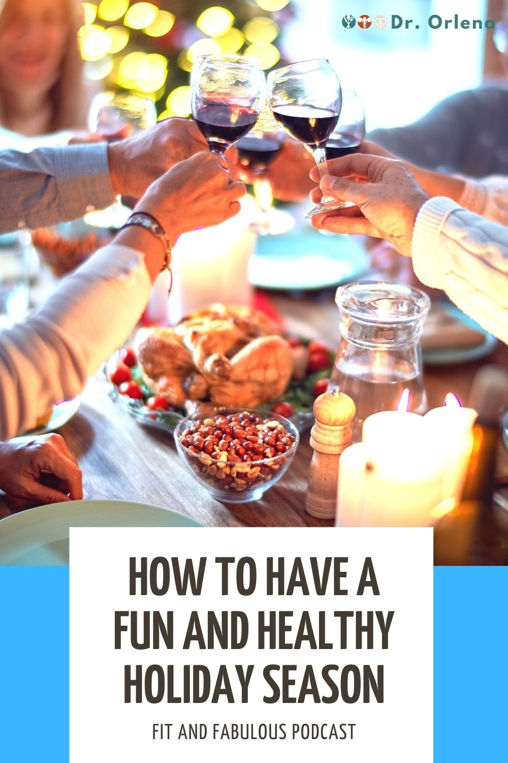 A group of people doing a toast with wine glasses while having a holiday feast #holiday #healthyholiday #holidayeating #healthyeating #healthylifestyle