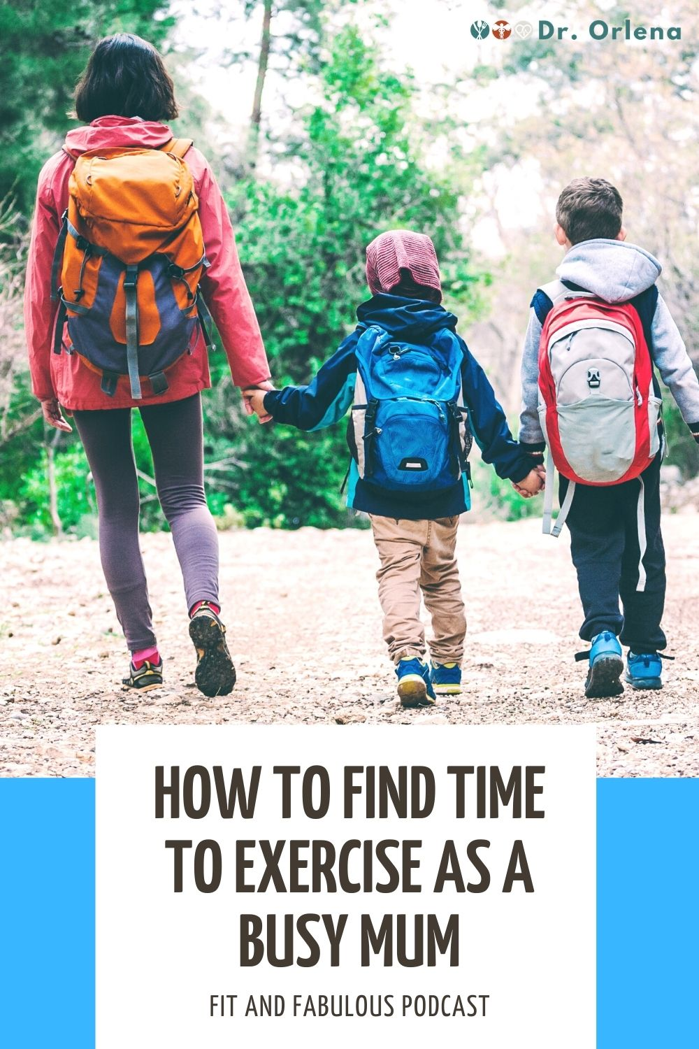 A woman hiking with her kids in the woods #momexercise #momhealth #activemom #healthymom #healthyliving