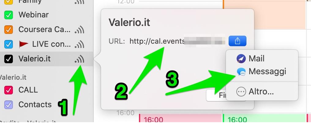 Condividere il calendario della web agency
