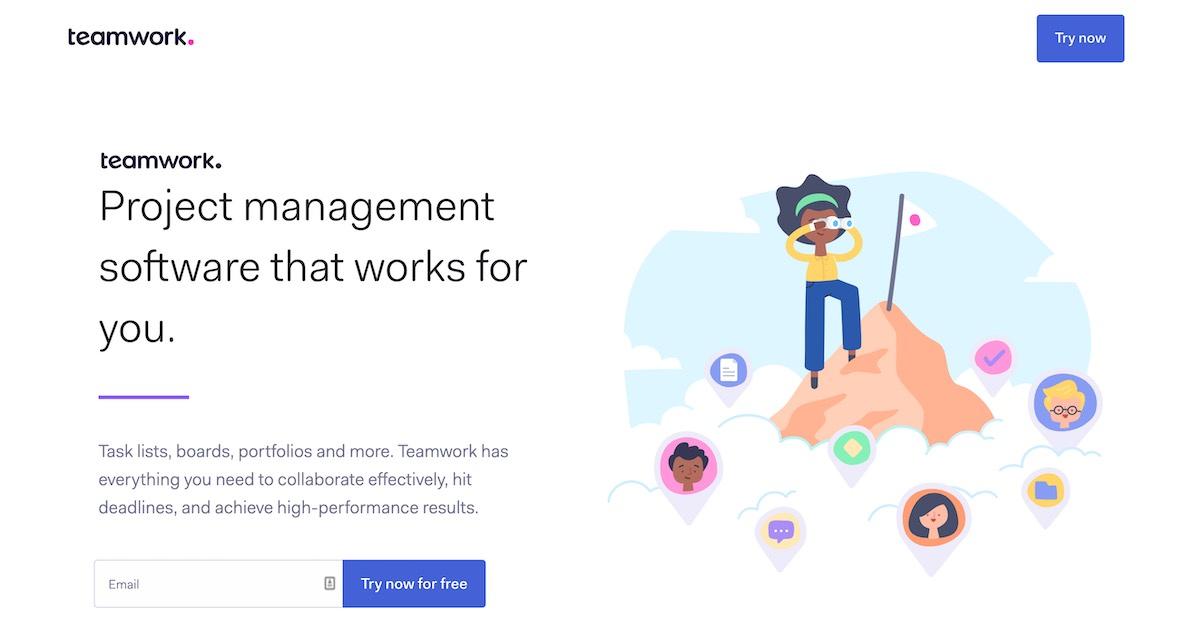 La landing page di Teamwork parla chiaro: questo è il software che lavora per te.