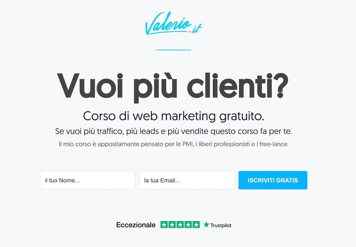 Nella landing page di Valerio.it trovi immediatamente le 5 stelle e il link per leggere le recensioni di Trustpilot.