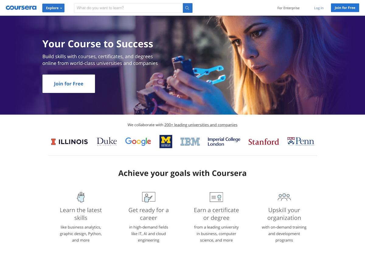 È piuttosto evidente che l'obiettivo della landing page di coursera.org è di farti iscrivere gratis ai suoi corsi. Trova quanti