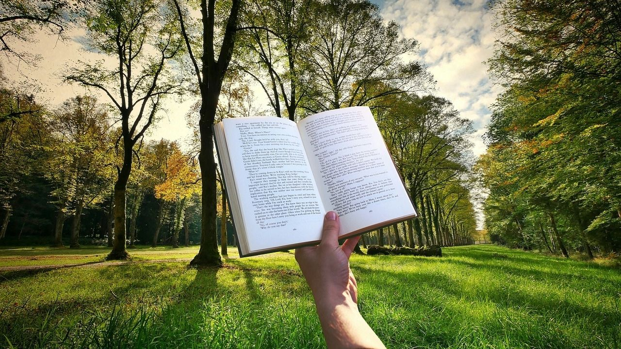 book held up in front of trees and grass