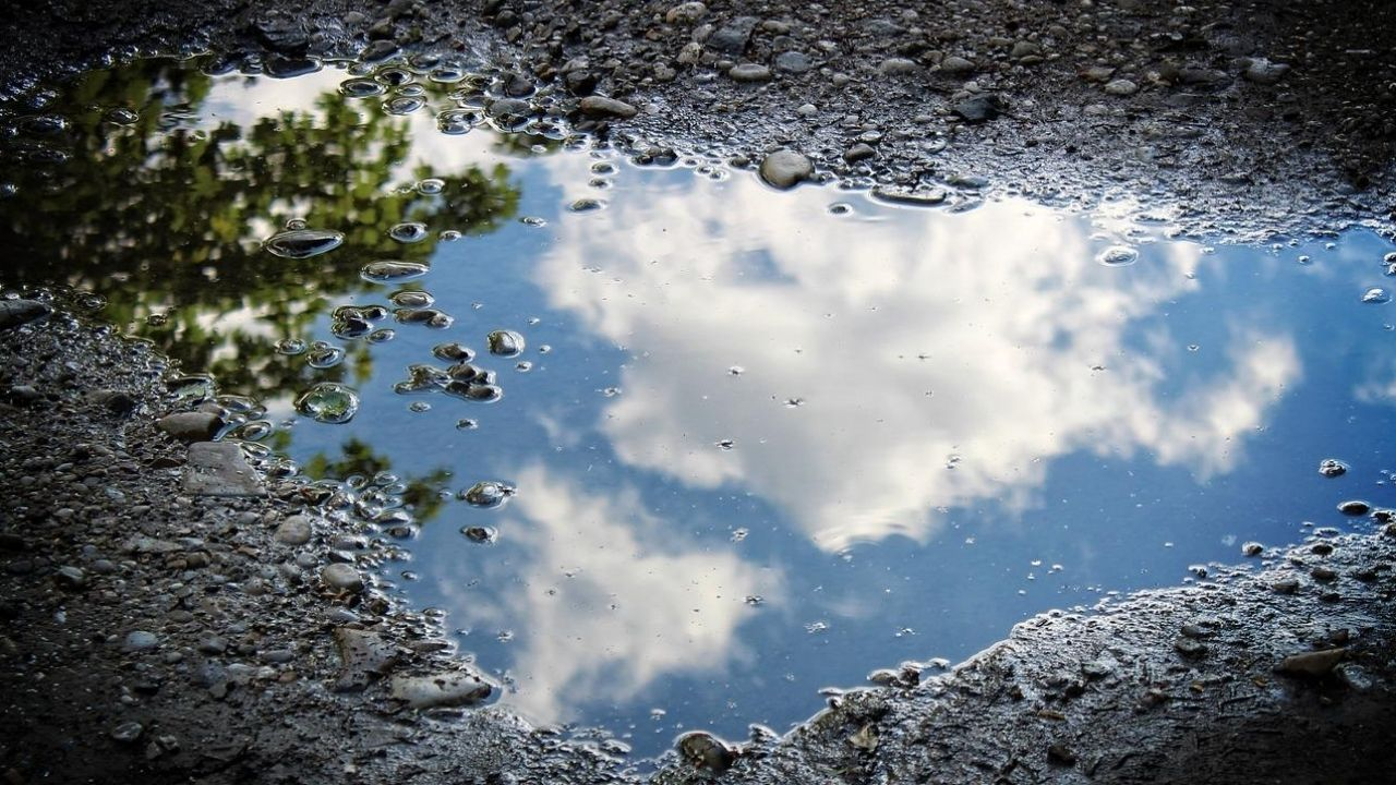 reflection of sky in a puddle