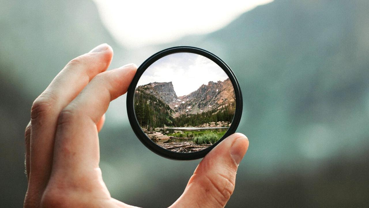 view of landscape through a lens