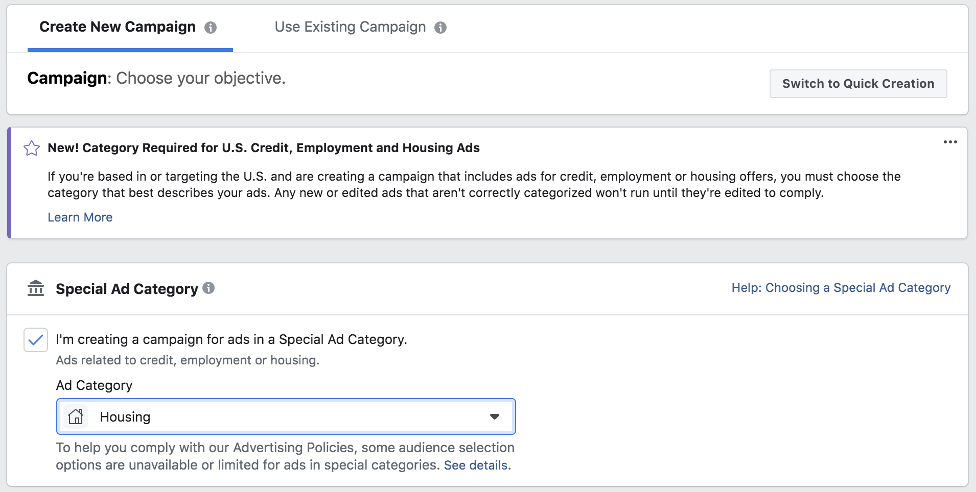 screenshot of the Facebook ads manager that shows how to check of the Special ad Category
