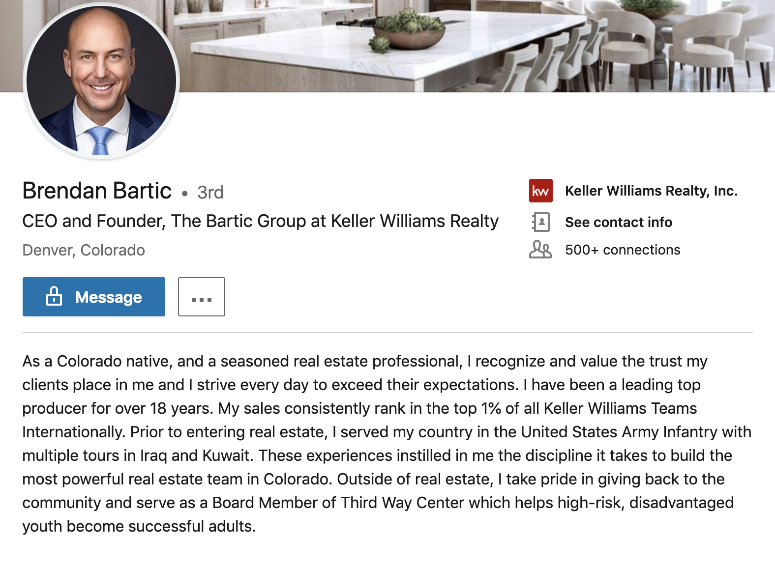 Example of a great real estate agent profile on LikedIn