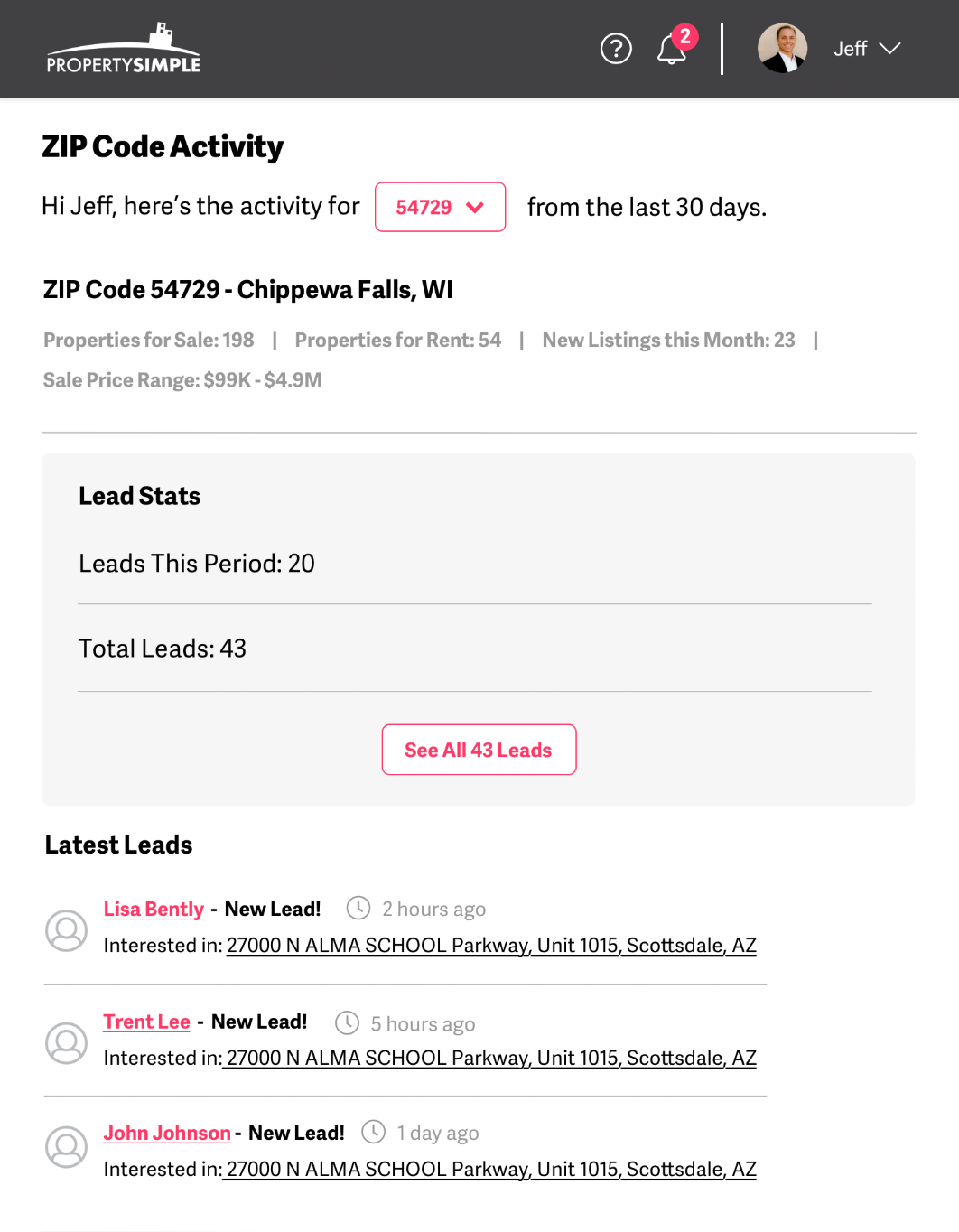 Example of how the summary of ZIP Code Statistics and leads appear in the ZIP Codes manager