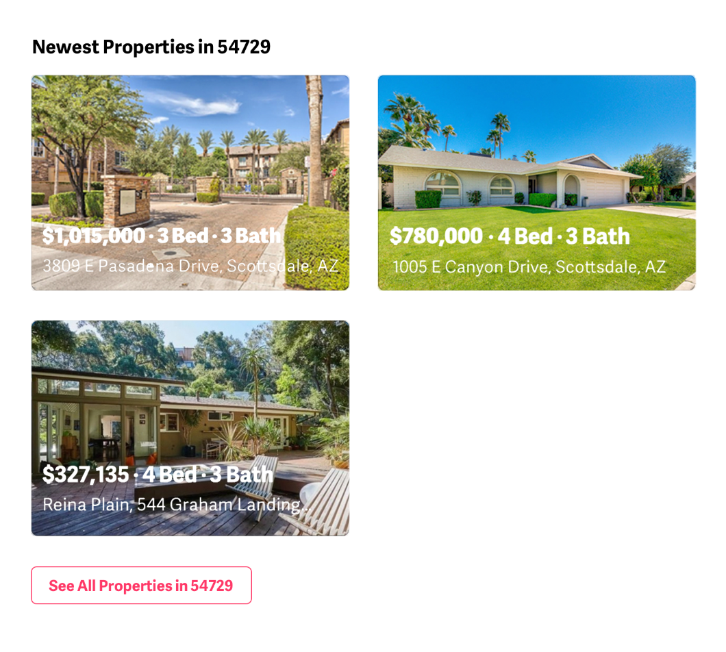 example of how the newest properties in a ZIP Code appear in an agent's ZIP Code manager
