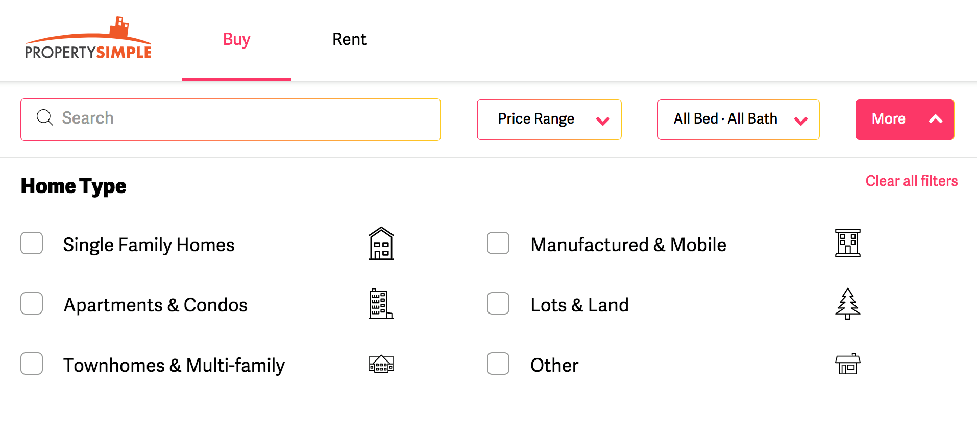 Filter options on the PropertySimple property portal