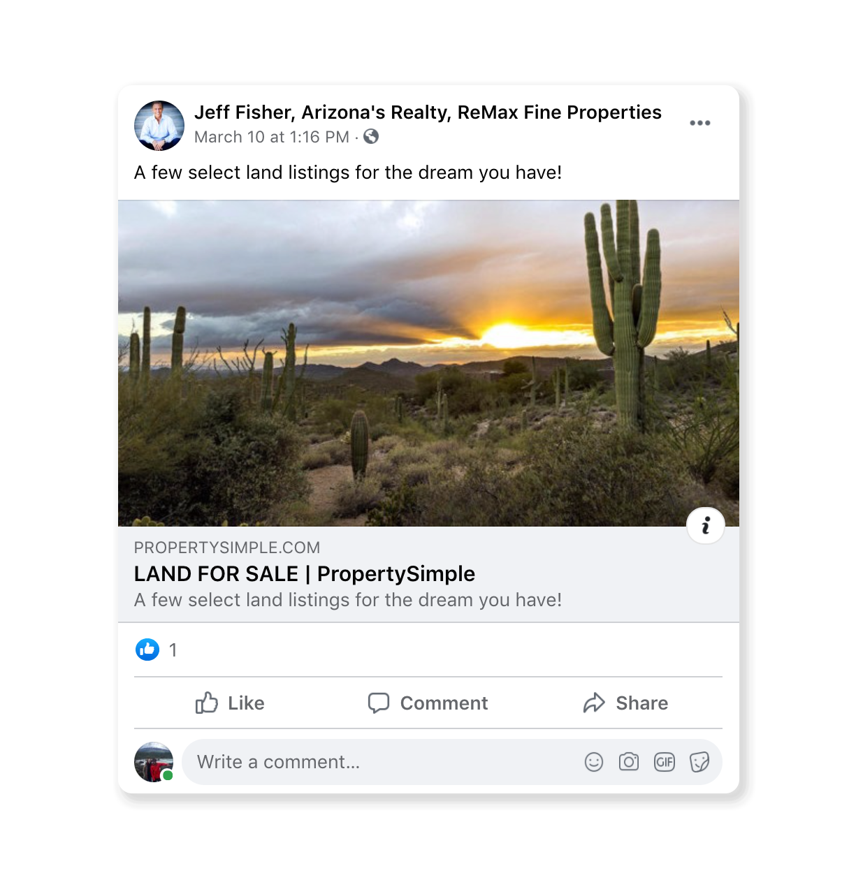 social media post by a real estate agent that showcases land for sale in Arizona