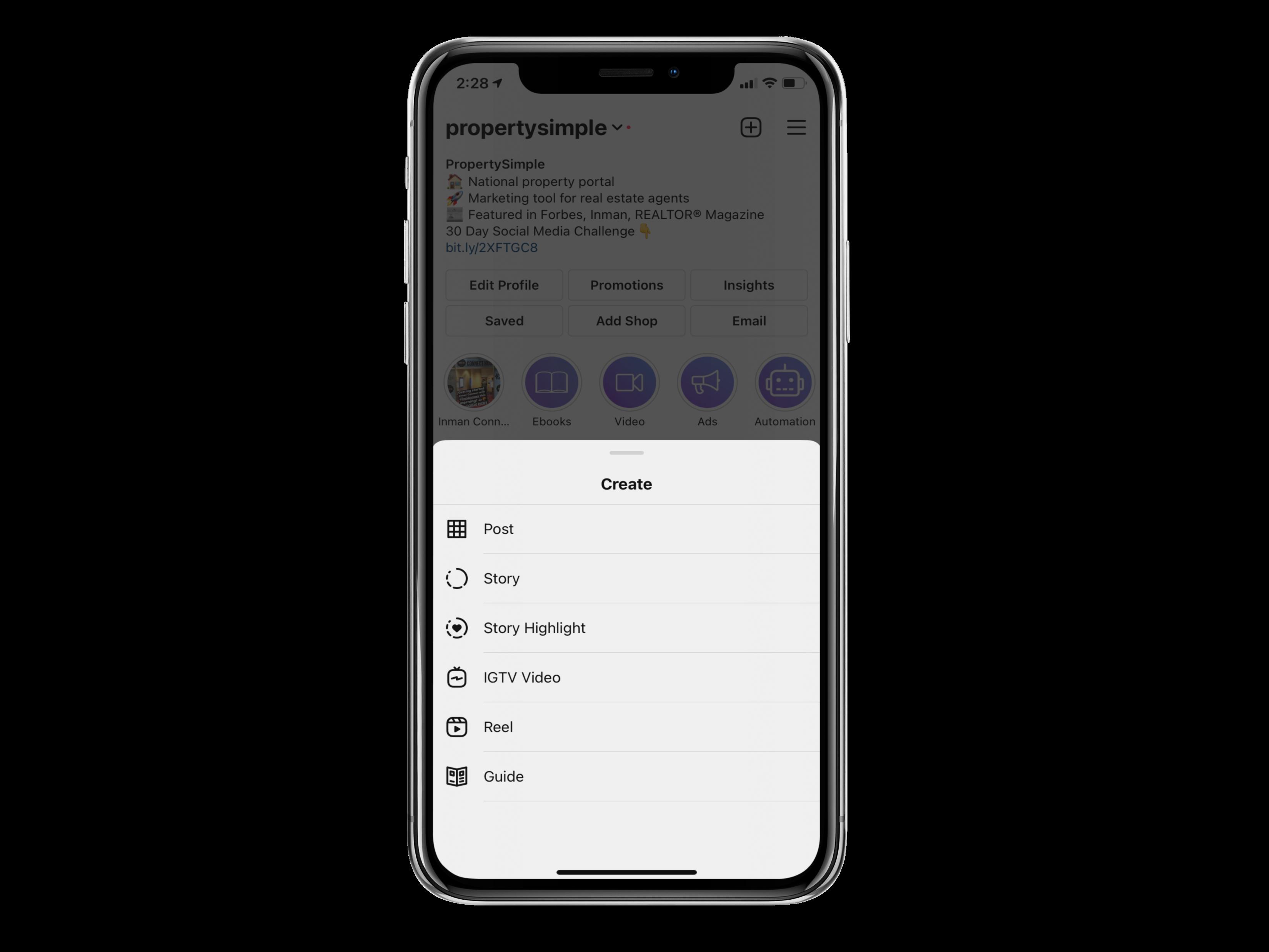 Instagram menu to create a guide