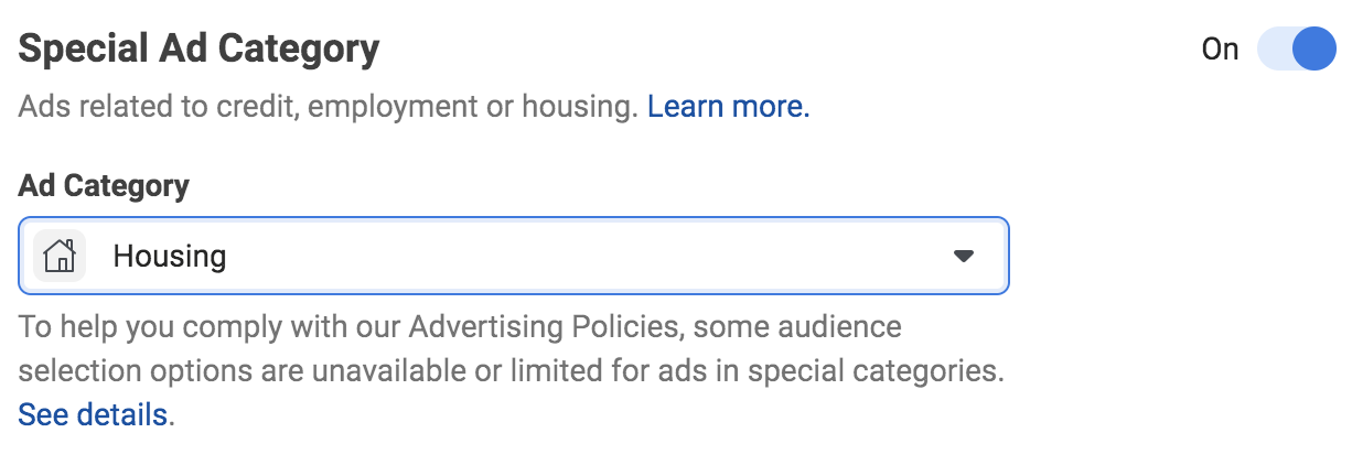screenshot of how to select the Special Ads Category for Housing related ads