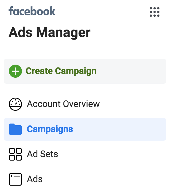 screenshot that shows where to click to create a new ad campaign
