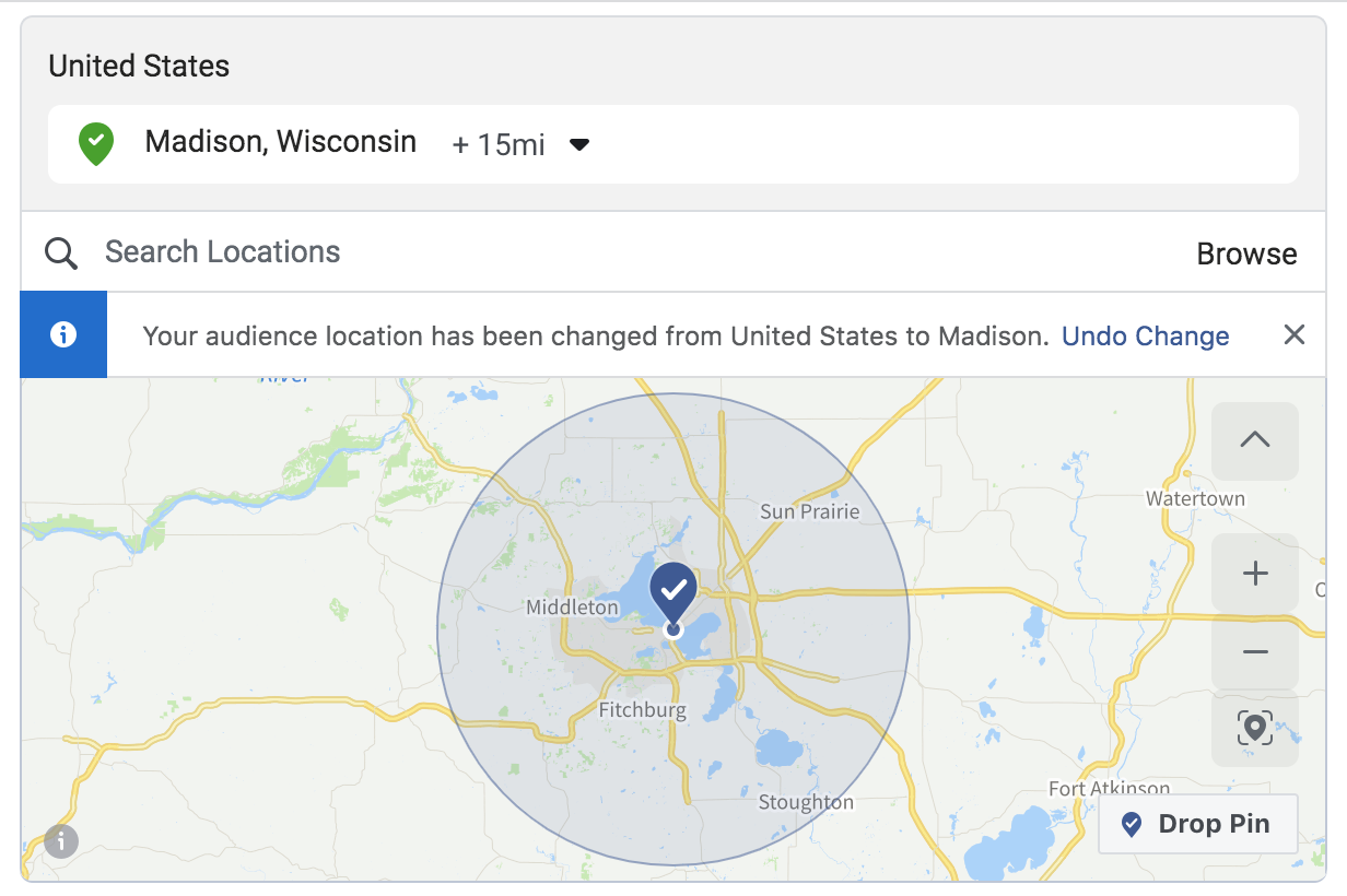 map that shows Facebook targeting of a city with a 15-mile radius