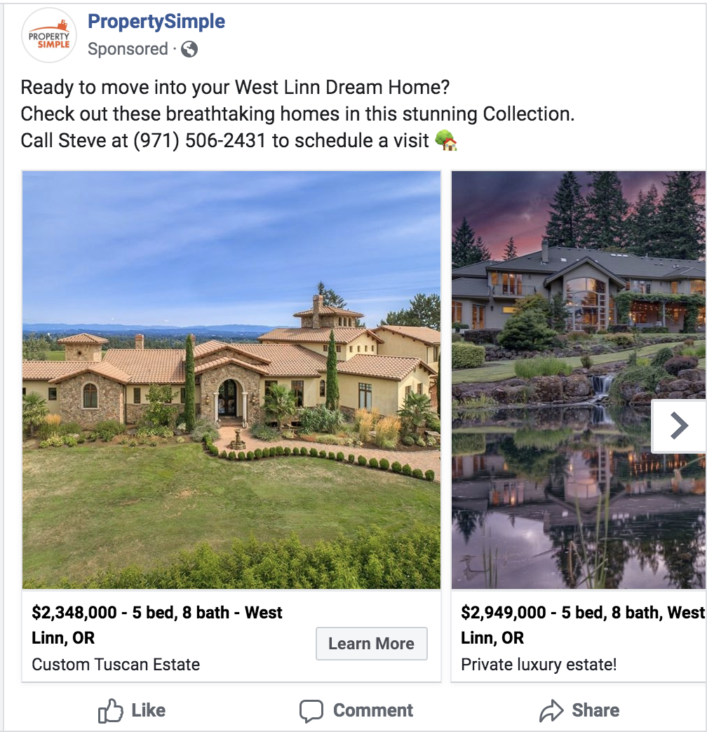 example of real estate Facebook carousel ad with multiple listings
