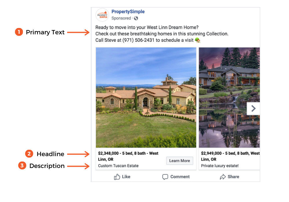 image that shows where the primary text, headline, and description appear on a Facebook ad