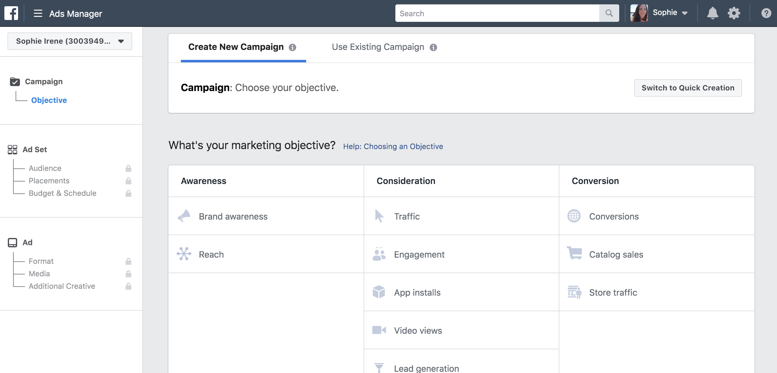 Facebook campaign objective screen that shows all of the options for your campaign objective