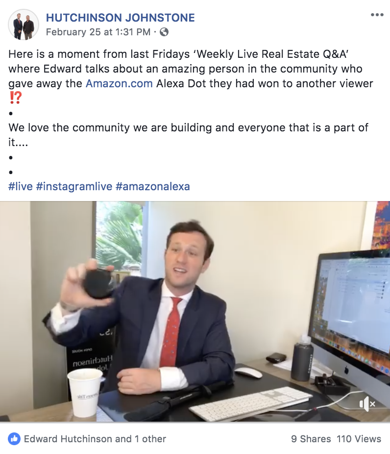 Screenshot of a live Q&A with a real estate agent