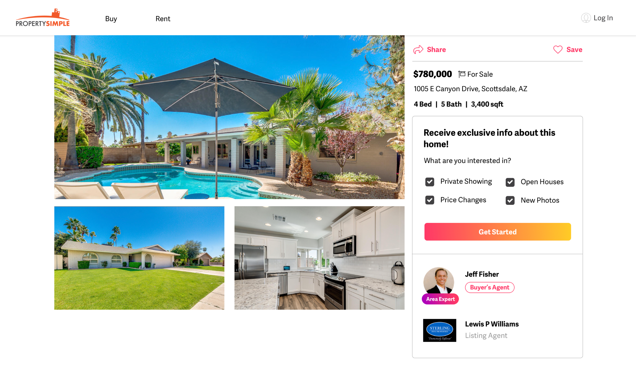 example of how a real estate agent's photo looks on any listing in their ZIP Code