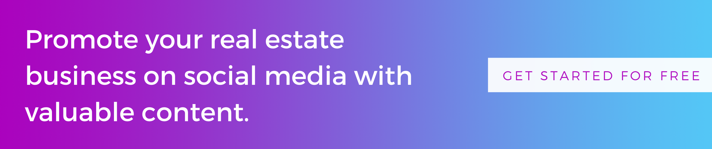 button to get started for free with PropertySimple and promote your real estate business on social media with valuable content