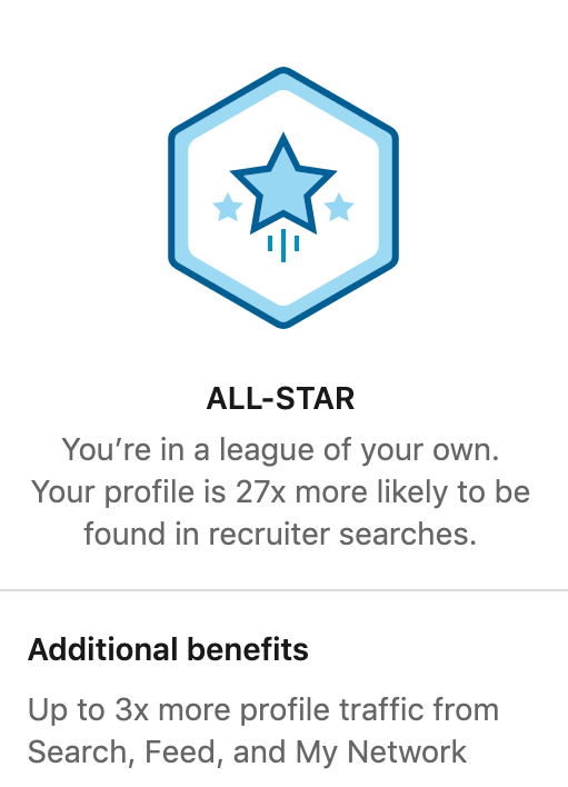 All star badge on LinkedIn