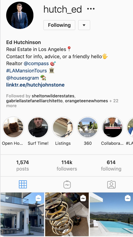photo of LA real estate agent, Edward Hutchinson's Instagram profile