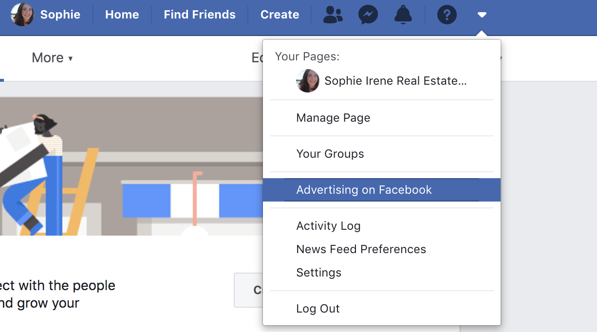 screenshot that shows where to click to create a Facebook ad