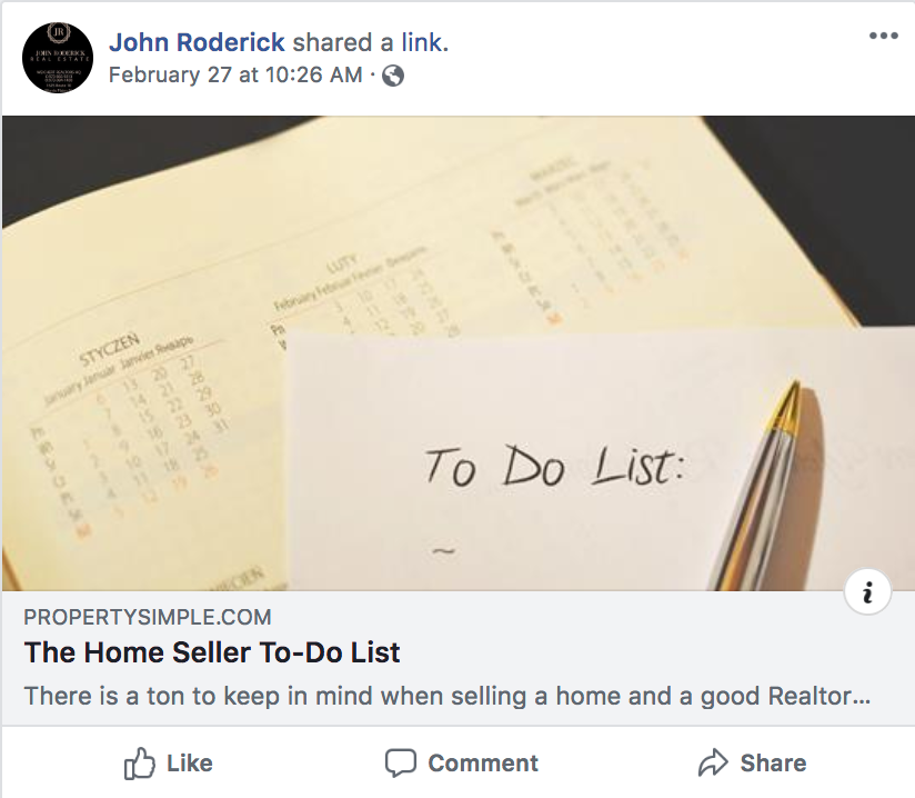 Checklist post example for real estate agents