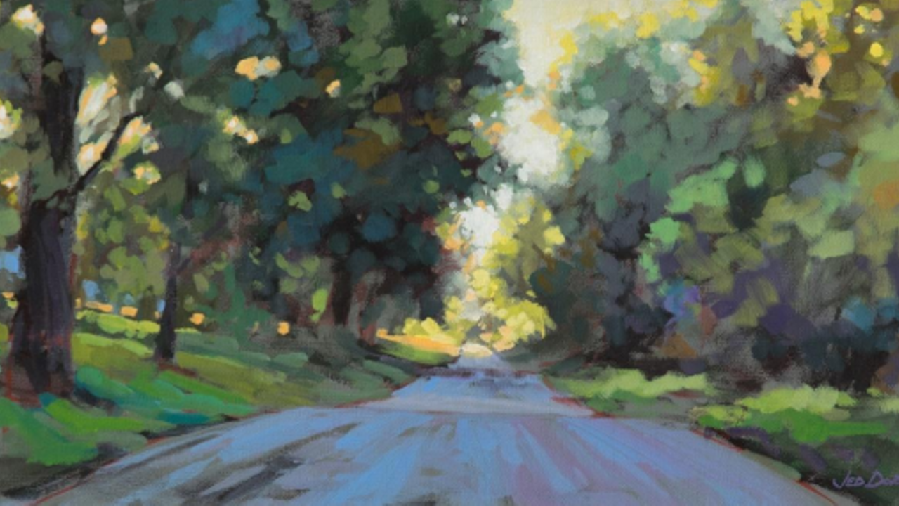 acrylic painting jed dorsey pathway trees forest