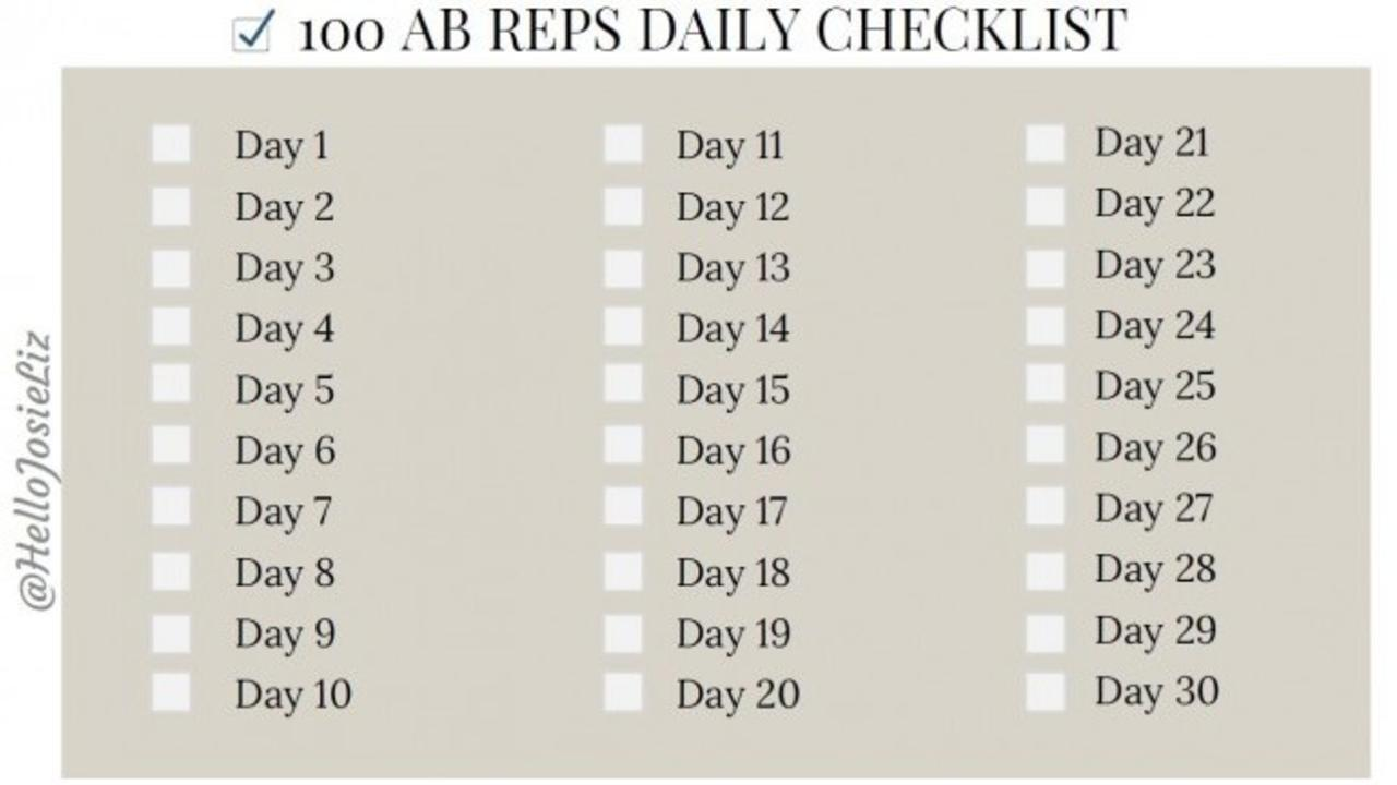It's just a picture of Printable 30 Day Ab Challenge in white