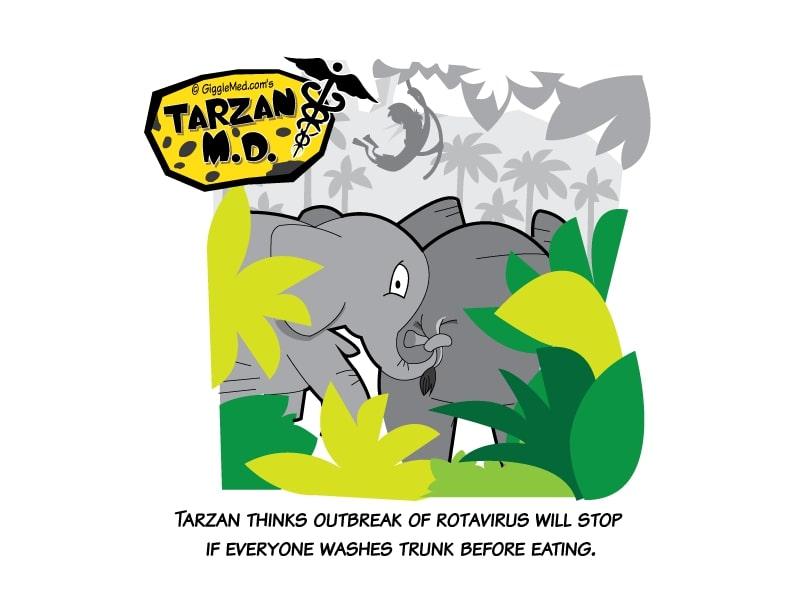 Healthcare comics - Tarzan MD funny hand washing advice