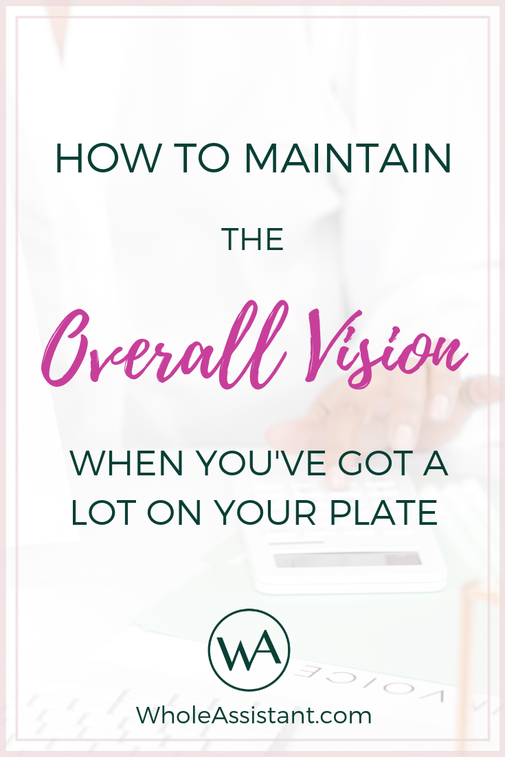 How to Maintain the Overall Vision When You've Got A Lot On Your Plate