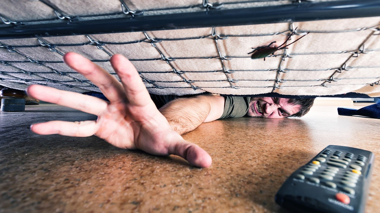 reaching awkwardly under a bed