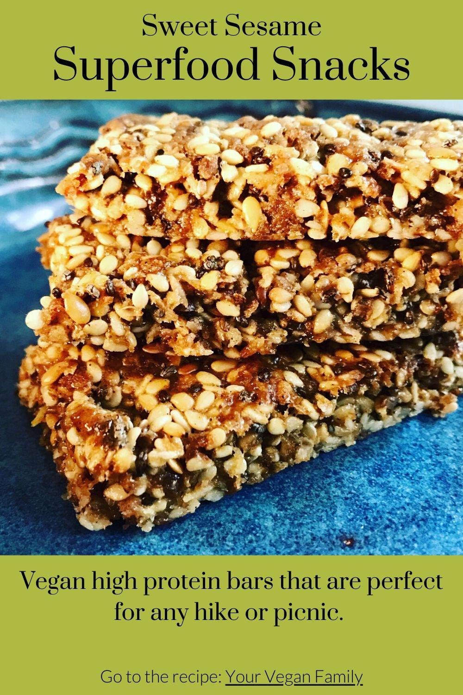 vegan sweet sesame superfood snack recipe Pinterest image 1