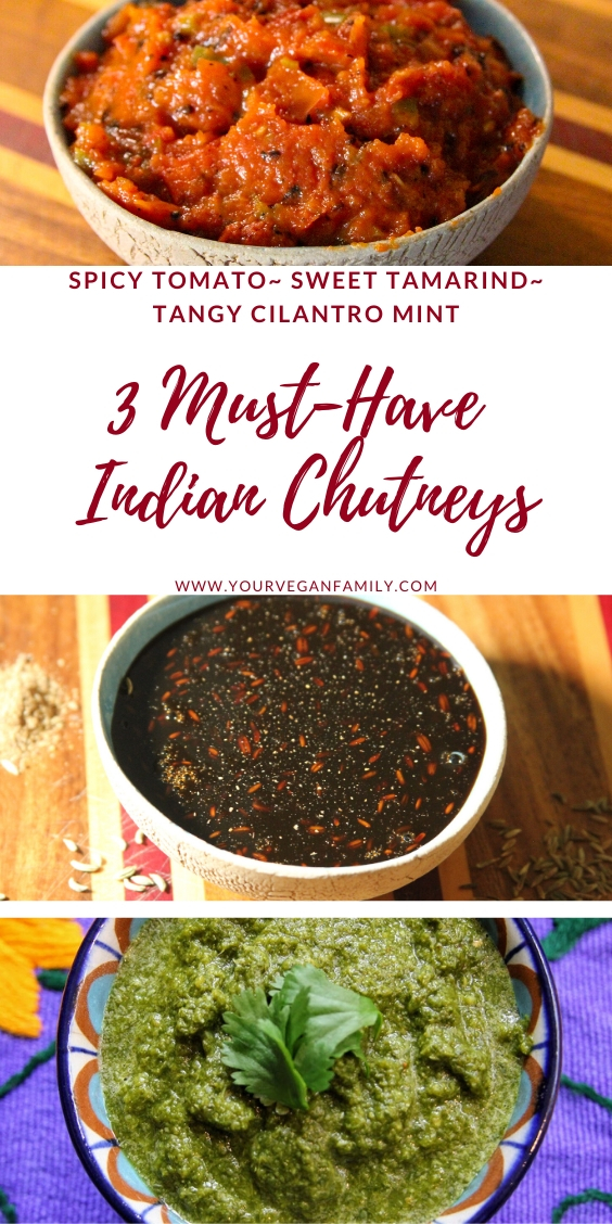 Spicy tomato chutney, tamarind chutney, and lemon-lime cilantro mint chutney in bowls pinterest pin