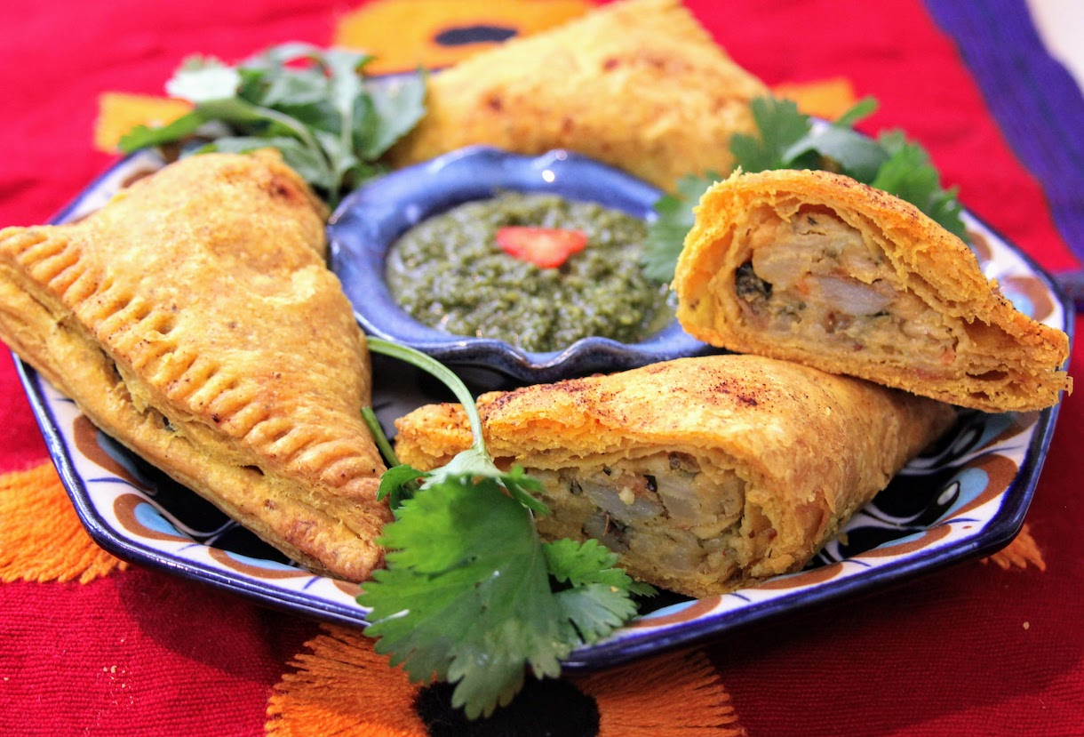 sunrise vegetable curry samosas with cilantro mint chutney