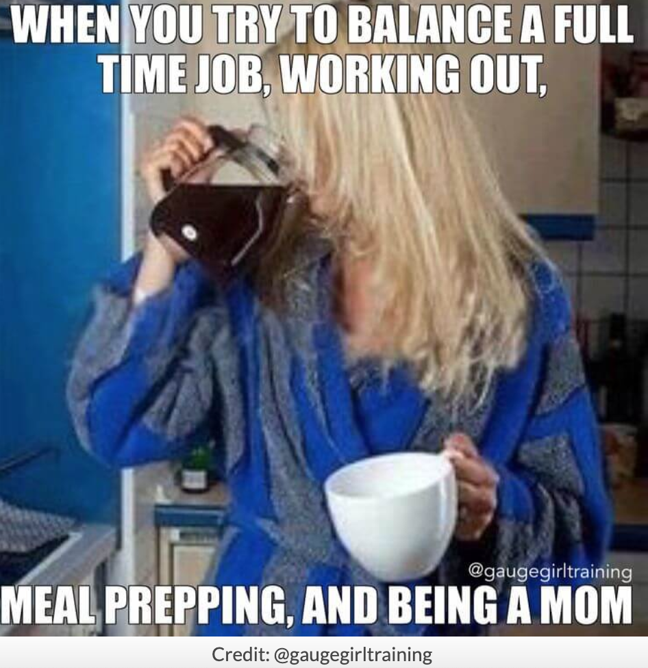 mother drinking coffee from the coffee pot