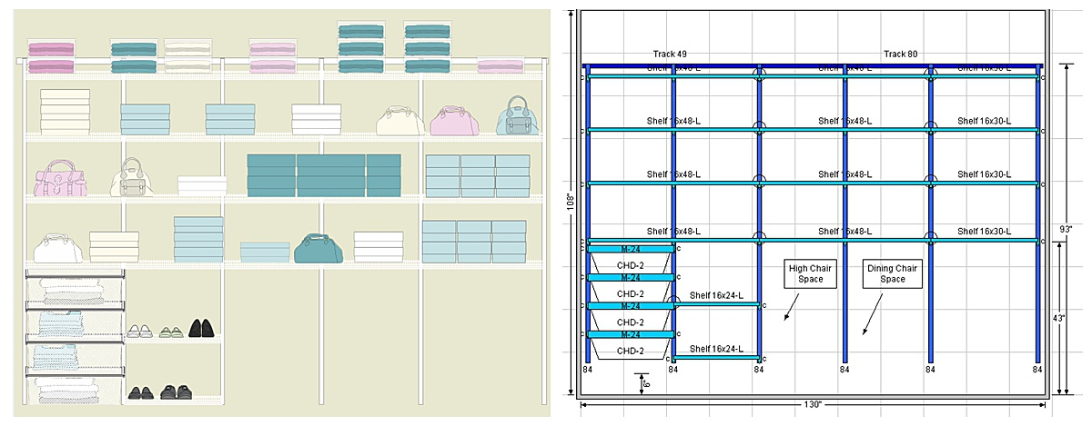 Mockup designs of a shelving unit in a storage closet.