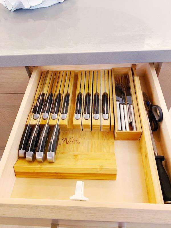 Organized kitchen drawer.