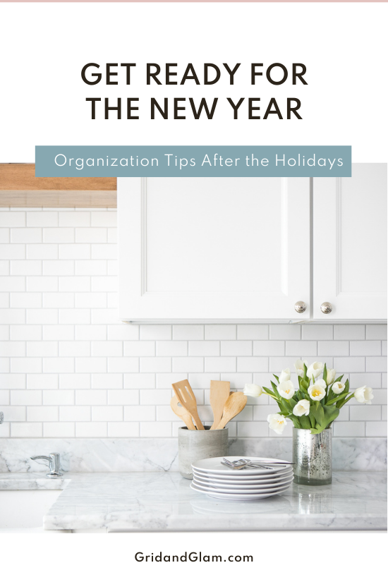 Graphic with a photo of a clean kitchen with fresh flowers and the title, 'Get Ready for the New Year.'