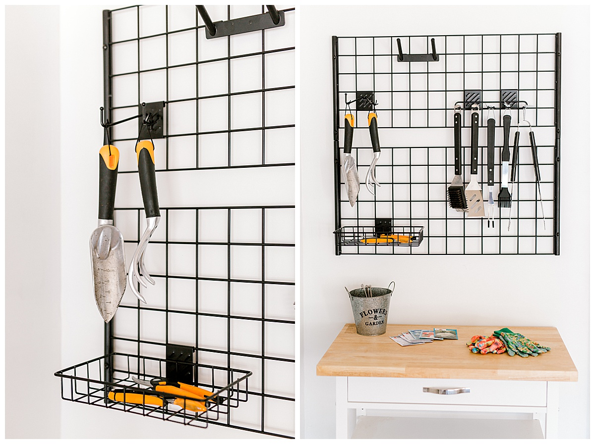 Two side-by-side images of a garage organization system mounted to the wall.