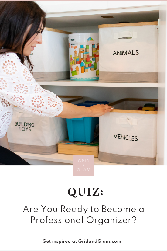 Graphic with a photo of a female professional organizer and the title, 'Are You Ready to Become a Professional Organizer? Take the quiz to find out!'