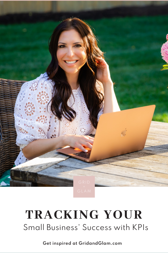 Graphic with a photo of a woman working on her computer with the text, 'Tracking Your Small Business' Sucess with KPIs.'