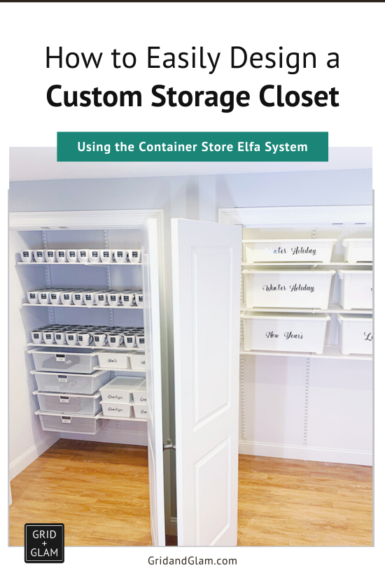 Graphic with photo of an organized closet with the title, 'How to Easily Design a Custom Storage Closet'.