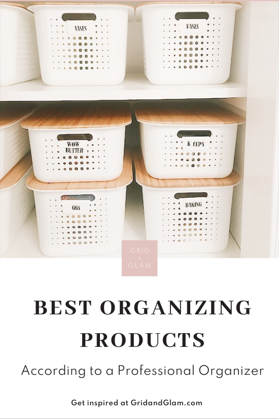 Photo of a closet with white bins and labels with the title, 'The Best Organizing Products.'