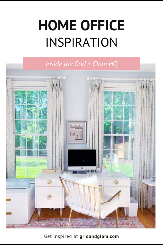 Graphic with a photo of a clean, styled office with the title, 'Home Office Inspiration.'