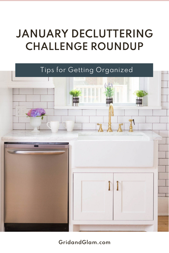 Graphic with a phot of a neat kitchen and the title, 'January Decluttering Challenge Roundup'