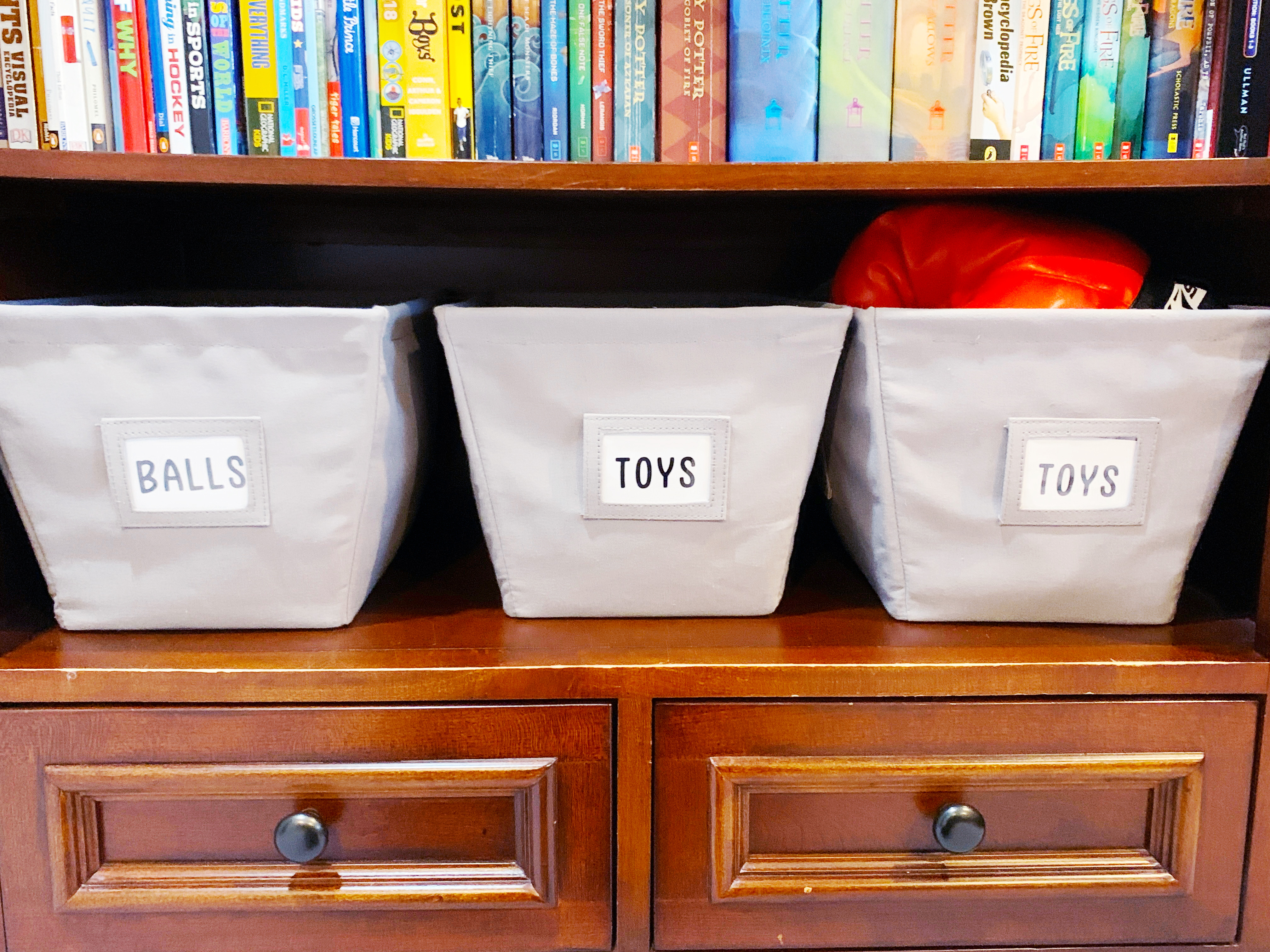 Large Grey Open Canvas Storage Bins with ball, toy and more Labels